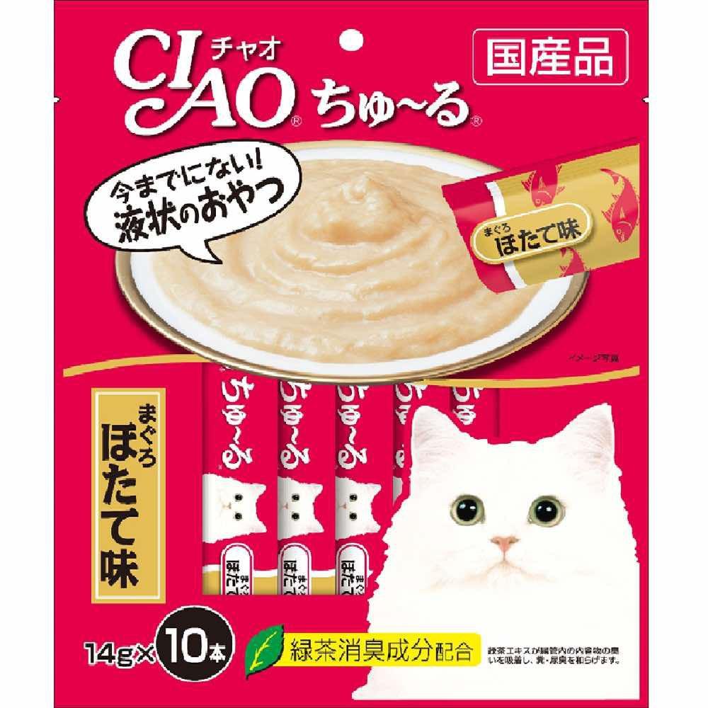 Ciao Churu - Bánh thưởng dạng sốt mịn cho mèo vị cá ngừ và sò điệp ( 10 tuýp )
