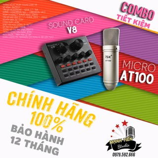 Bộ thu âm Livestream sound card V8 và micro karaoke AT100 loại 1 bảo hành 12 tháng