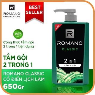 Tắm gội 2trong1 Romano Classic nồng ấm cá tính tiện dụng 650g