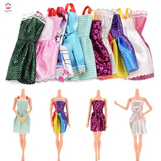 10PCS Kids Xmas Handmade Doll Mini Dress Dolls Fashion Clothes Mixed Style for Barbie Toy Party Gift