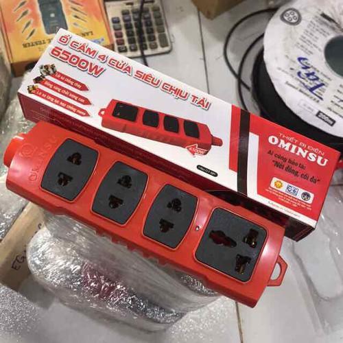 Ổ cắm 4 cửa Siêu chịu tải OMINSU 6500w - Ổ 4 chịu tải Ominsu