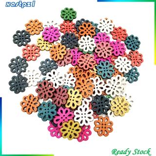 Set 100 Nút Gỗ Hình Hoa Làm Đồ Thủ Công