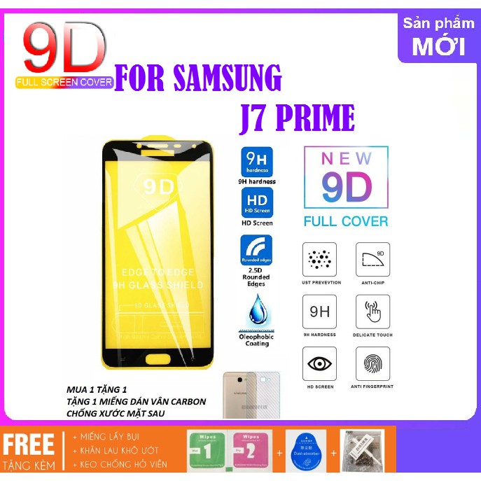 SamSung Galaxy J7 Prime_Kính cường lực 9D full màn hình tặng miếng dán mặt  sau vân carbon