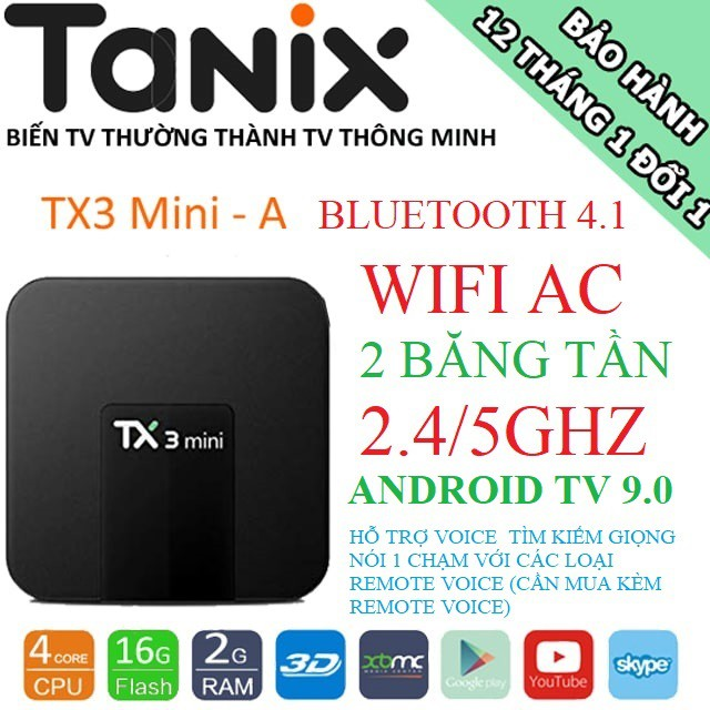 Android TV Box TX3 Mini-A, Wifi 2 băng tần 2.4GHZ/5GHZ, Bluetooth 4.1,  Android TV 9 PIE, Ram 2GB, Bộ nhớ trong 16GB