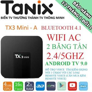 Android TV Box TX3 Mini-A, Wifi 2 băng tần 2.4GHZ/5GHZ, Bluetooth 4.1, Android TV 9 PIE, Ram 2GB, Bộ nhớ trong 16GB
