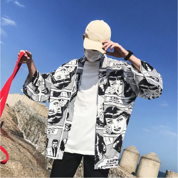 Unisex Cartoon Kimono Breathable Loose Thin Half-sleeve Tops