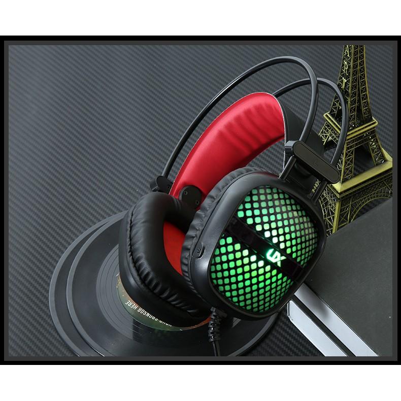Tai nghe Gaming UX LED đầy màu sắc với Mic (Đen) - Công nghệ Giảm tiếng ồn PU -dc2136