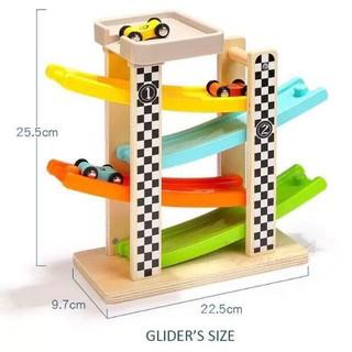 Xe đua gỗ cao tốc chạy zic zắc 4 tầng cho bé