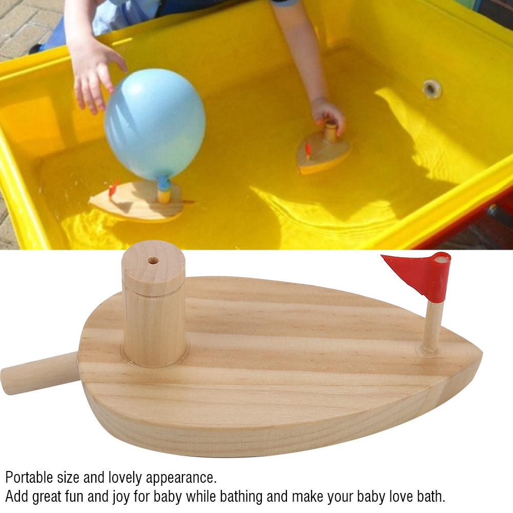 Justgogo Children Water Boat Balloon Powered Wooden Boat Cartoon Kids Swimming Toys Water Sports Toy Pool Accessories