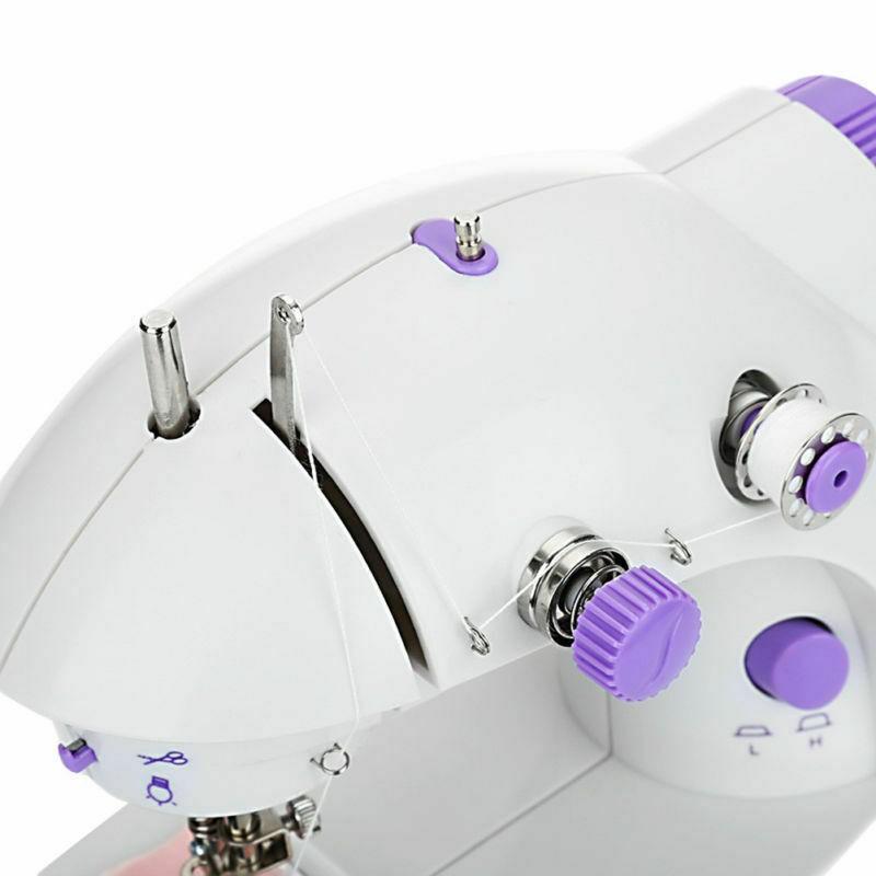 จักรเย็บผ้า ไฟฟ้า มินิ ขนาดพกพา Mini Sewing Machine จักรเย็บผ้าขนาดเล็ก พกพาสะดวก (สีม่วง)