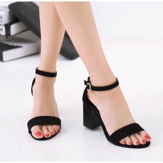 Dép sandal nữ quai ngang chất da lộn cực độc đế vuông 7 phân cực chất