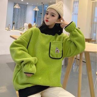 Washanglecho thu đông 2020 phiên bản mới của Hàn Quốc lông cừu hai mặt lỏng bf nửa cổ cao giả hai áo len không mũ dày