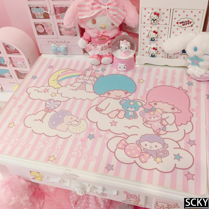 ★Pink twin stars moon castle placemat anti-scalding oil-proo