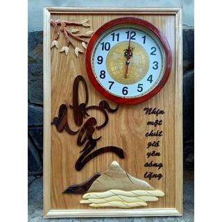 Tranh đồng hồ gỗ chữ Nhẫn - kích thước 40x60cm