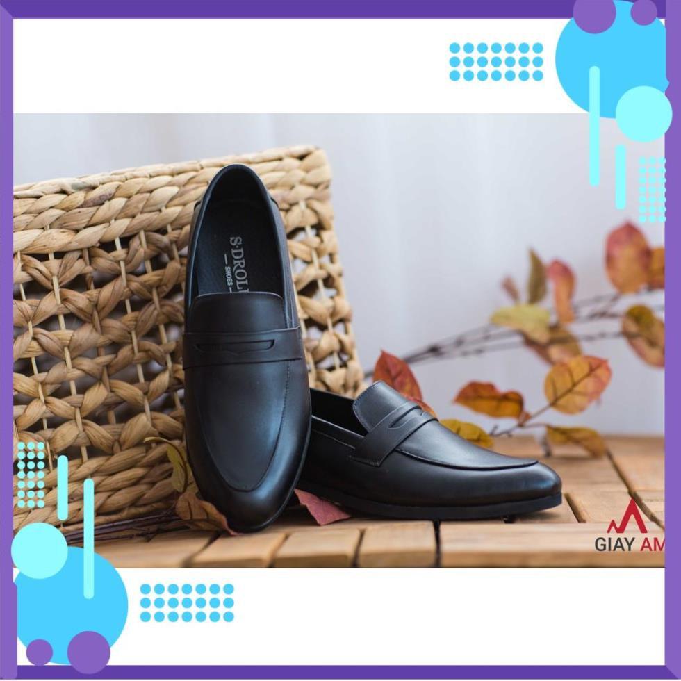 ( Fỏ Men ) Giày tây nam công sở không dây da bò thật nguyên tấm đai ngang khoét lỗ màu đen sang trọng neu ₃