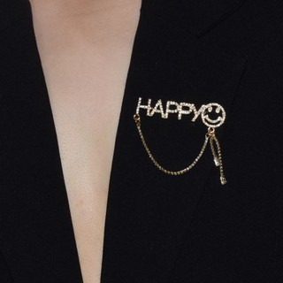 New letter smiley face brooch female fashion trendy sex pin brooch decoration suit coat collar button pin sweater