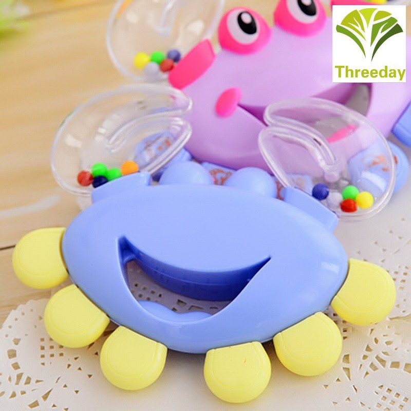 3D❤ Plastic Baby Kid Toy Jingle Musical Educational Shaking Rattle Plastic Crab