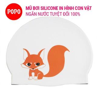Mũ bơi silicone in hình chính hãng POPO CA51 nón bơi người lớn cho nữ chất liệu an toàn,chống trơn trượt, ngăn nước 100% thumbnail