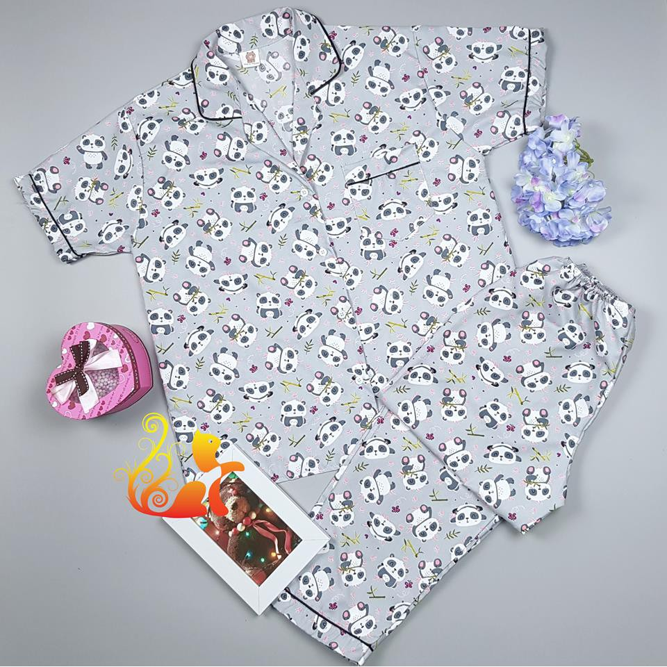 """Đồ bộ Pijama Kate Thái Quần Dài - """"Gấu Trúc"""" - Dưới 70kg"""