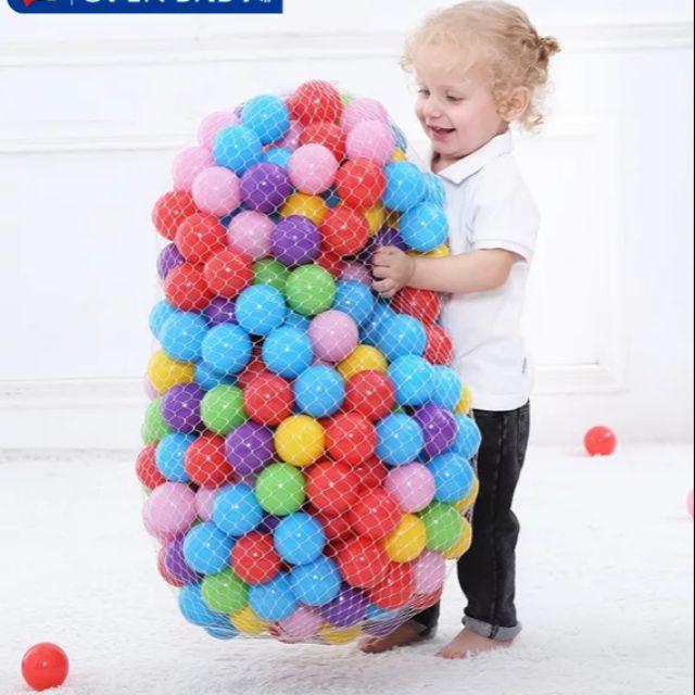 100 quả banh nhiều màu sắc kích thước 3-5cm