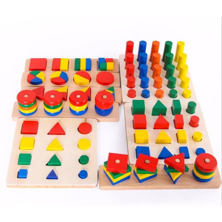 Bộ Giáo Cụ Montessori 8 Món - Loại 1 - Giúp Phát Triển Trí Tuệ Về Hình Học, Toán Học