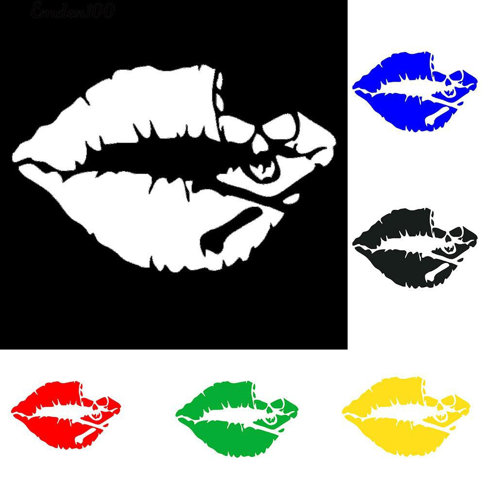 Miếng Dán Trang Trí Xe Hơi Chống Nước Hình Đầu Lâu Kiss Mark