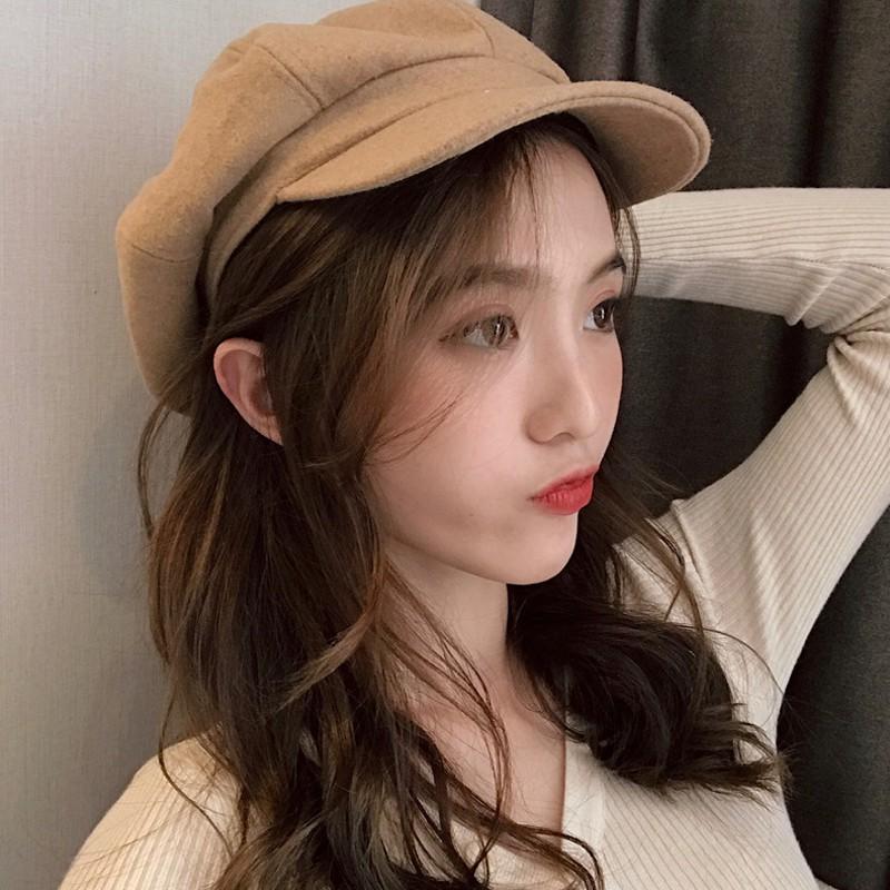 2019 เวอร์ชั่นเกาหลีใหม่ของสุทธิทะเลสีแดงอังกฤษย้อนยุคทำด้วยผ้าขนสัตว์สีทึบหมวกหญิงอินน้ำหมวกเบเร่ต์หมวก