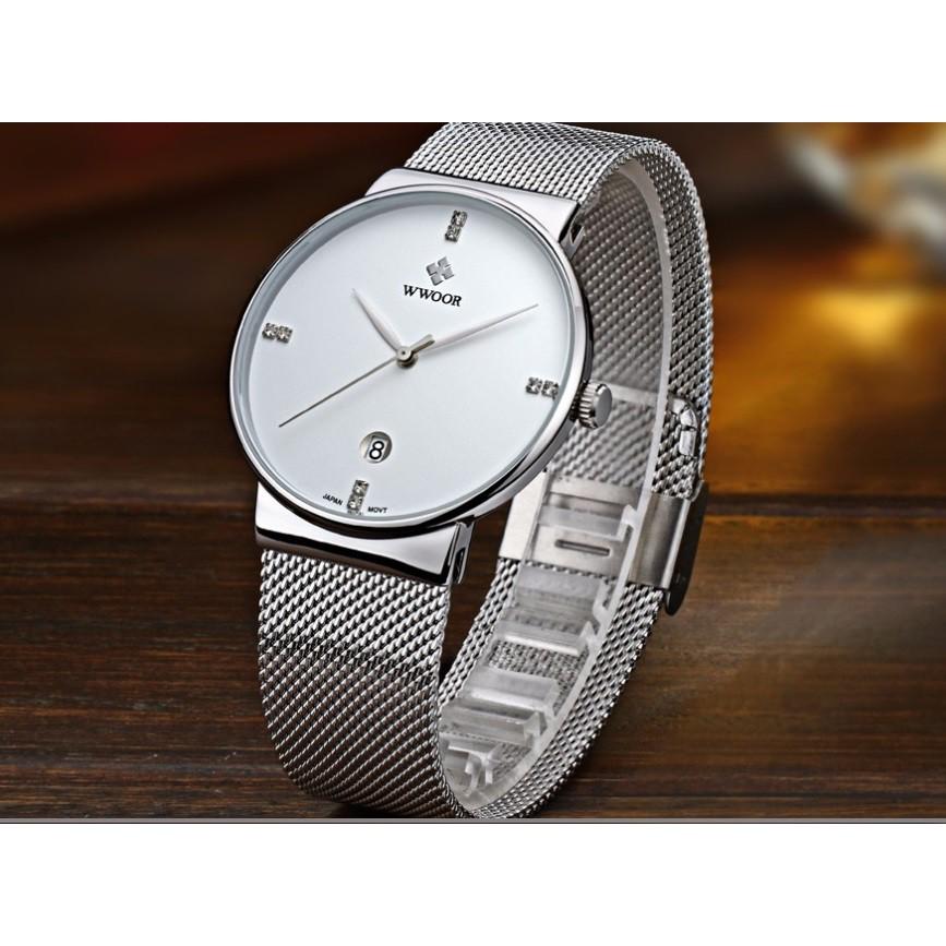 Đồng hồ nam dây lưới thép siêu đẹp Wwoor 8018