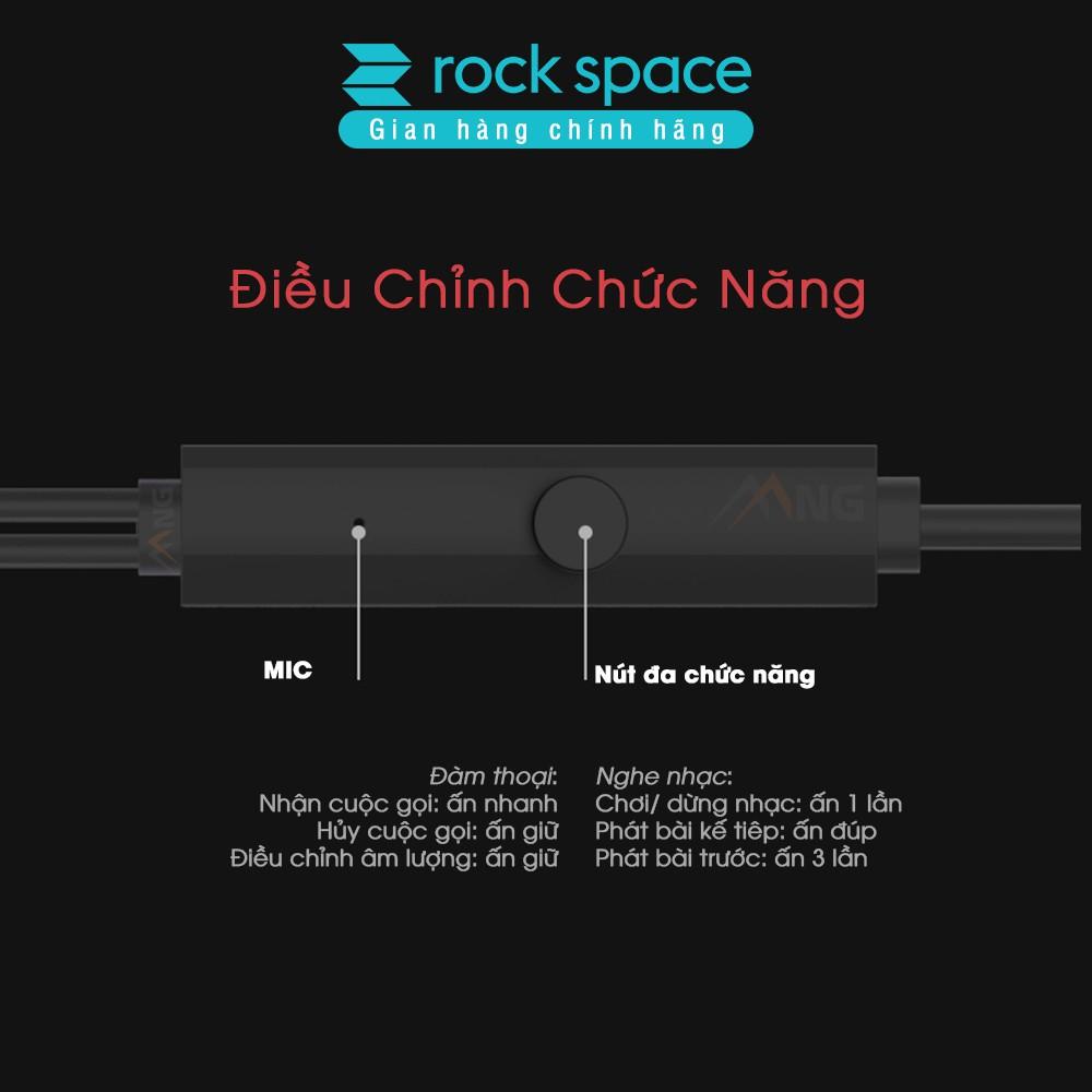 Tai nghe nhét tai có dây Rock Space Mufree, màu đen, có micro hàng chính hãng bảo hành 1 đổi 1 trong 12 tháng