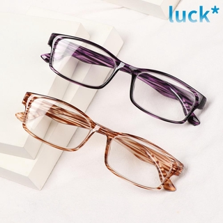 LUCKY🔆 Unisex Reading Glasses UltraLight Relieve Visual Fatigue Optical Spectacle Printed Frame Fashion Far Sight Diopter + 1.0 + 4.0 Presbyopic Eyewear purple/black/black