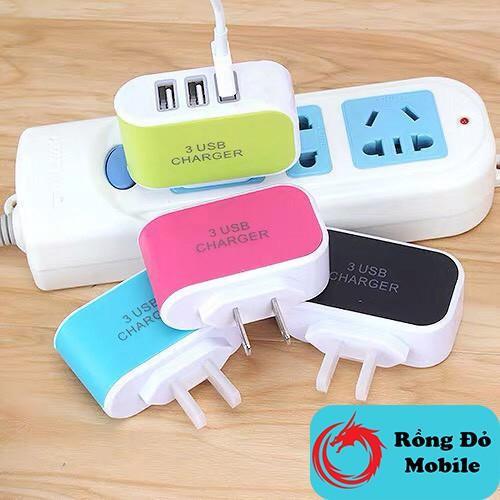 Củ cắm sạc 3 Cổng Usb dùng cho mọi loại điện thoại bảo hành lỗi 1 đổi 1 trong 3 tháng Rồng Đỏ Mobile