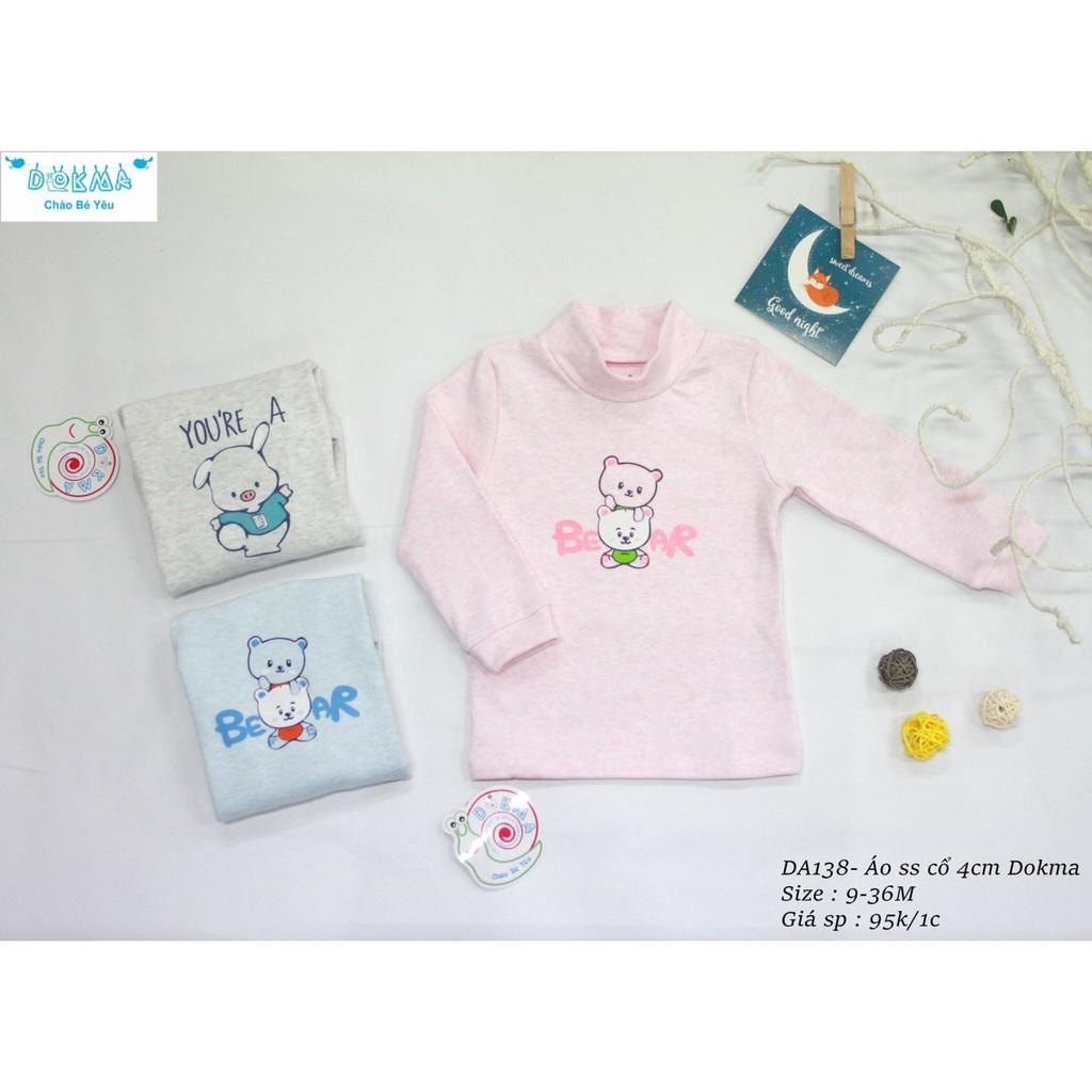Dokma - Áo dài tay cotton len cổ 4cm DA138
