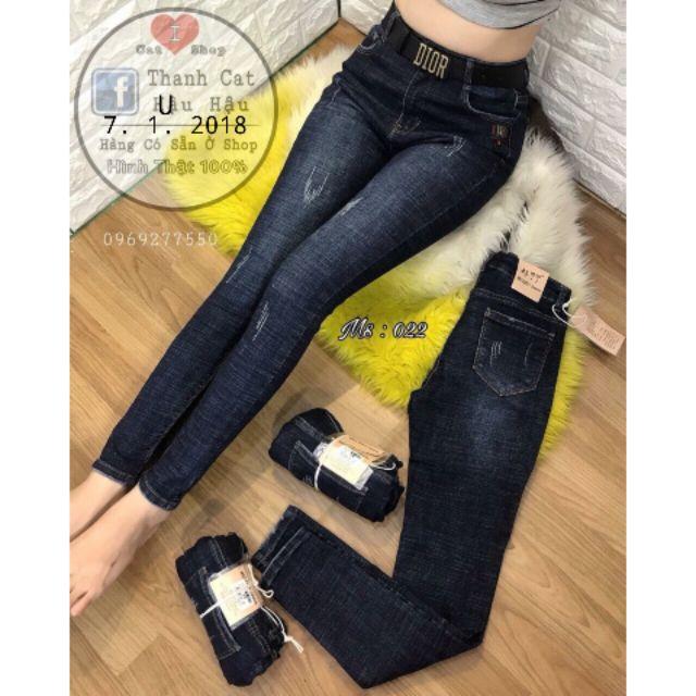 Jeans Nữ Lưng Cao Whash Bạc Rách Xước Sành Điệu