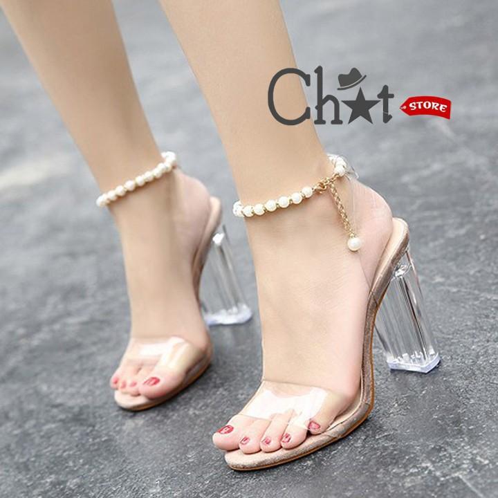 Giày Sandal Cao Gót Nữ Quai Ngang Gót Trong 7cm Dây Cài Vòng Ngọc