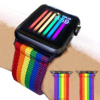 Dây Đeo Thay Thế Chất Liệu Vải Dù Màu Cầu Vồng Cho Đồng Hồ Thông Minh Apple Watch Series 5 4 3 2 1