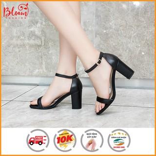 Sandal cao gót nữ đế vuông 7 phân mũi tròn da bóng quai ngang Giày sandal nữ cao gót 7 phân H0507