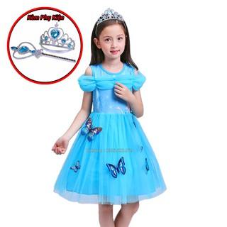 Combo Váy đầm Elsa 2020 💖 Vương miện 💖 Gậy thần 👄 Váy công chúa Elsa cho bé + bộ phụ kiện Elsa 02 món 👄