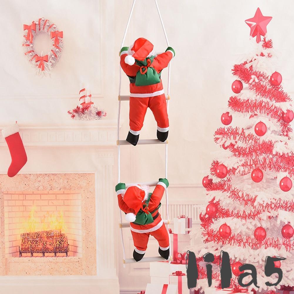 ღ☭Christmas Santa Claus Climbing On Rope Ladder Xmas Tree Hanging Home