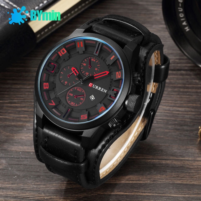 Army Military Quartz Mens Watches Luxury Leather Men Watch~