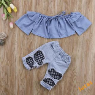 QAZ-Kids Baby Girls Crop Tops+Denim Pants Set