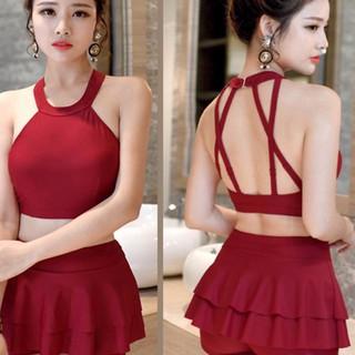 [GIẢM GIÁ] Bikini hai mảnh đỏ quần váy 2 tầng mặc đi biển nữ tính