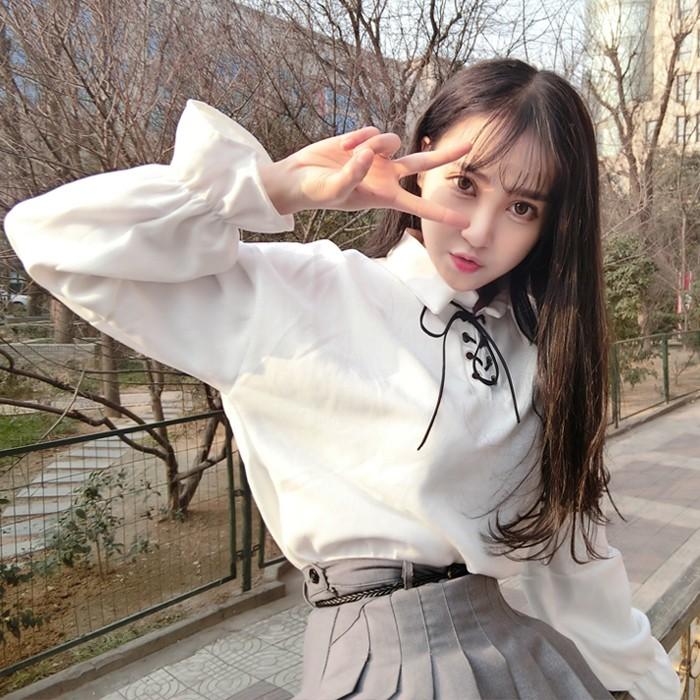 (Sẵn) sơ mi ulzzang áo sơ mi nữ trắng áo kiểu dáng Hàn Quốc tay bồng thắt nơ bánh bèo - Dài tay