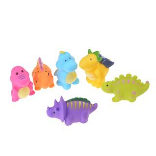 HBVN 6pcs Dinosaur Rubber squeaking Toy Children's Cognitive PVC Bath Toys