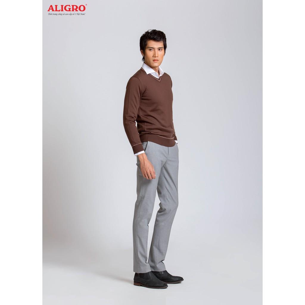 Áo len dài tay Aligro ALEND042 nâu cổ tim phối