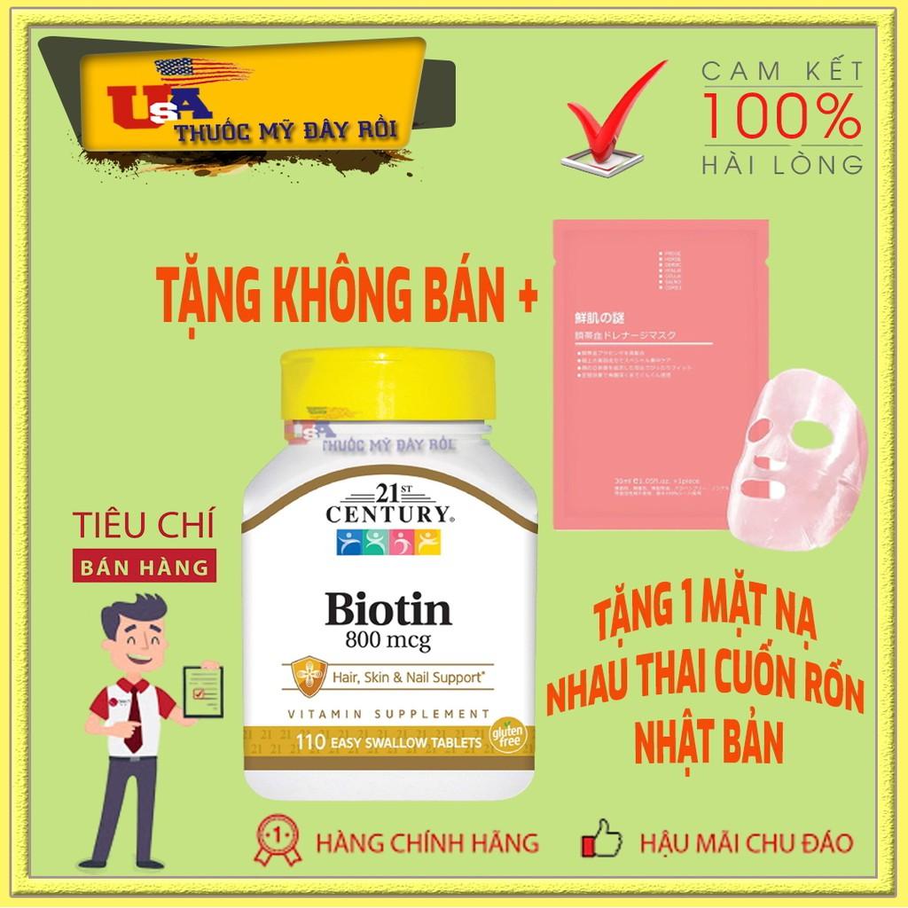 Viên Uống Biotin 800mcg - 21st Century Bổ Sung Vitamin H (B7) Tốt Cho Tóc & Móng