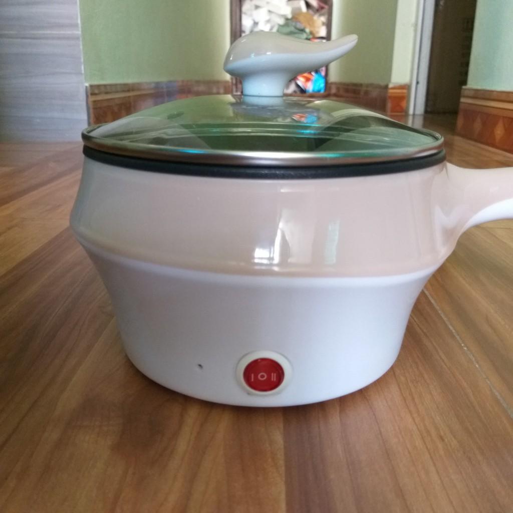 Nồi lẩu mini có tay cầm bếp điện nhỏ 1.5l chiên xào chống dính cho sinh viên có vỉ hấp
