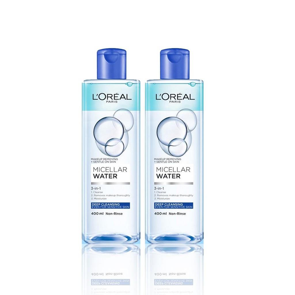 Bộ 2 nước tẩy trang đa năng 3-in-1 làm sạch sâu L'Oreal Paris (xanh dương đậm)