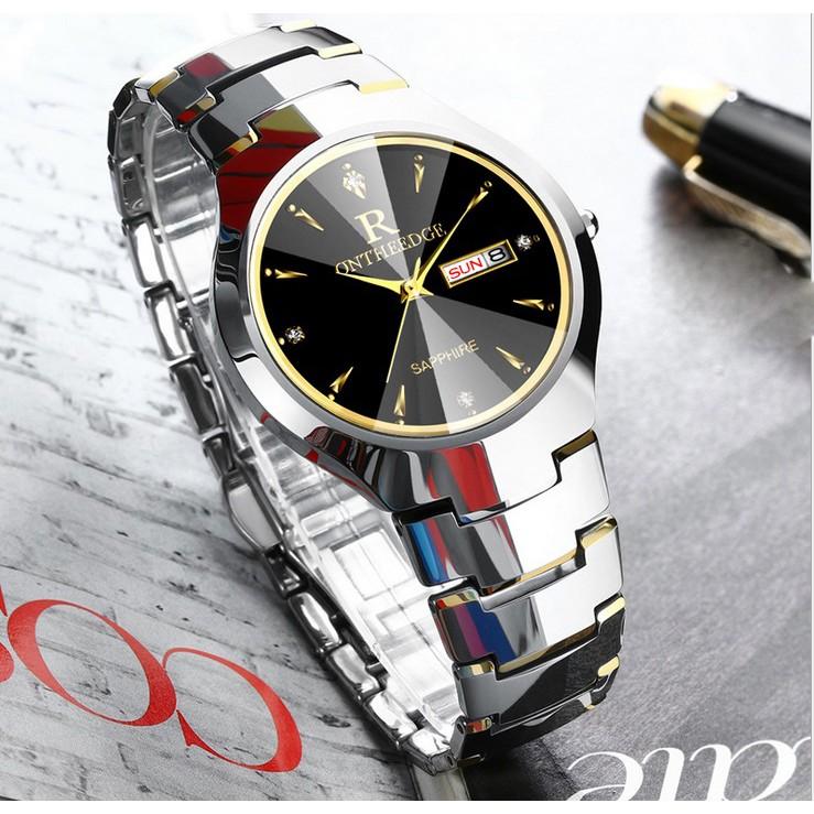 Đồng hồ nam Ontheedge dây đá siêu mỏng kính Sapphire (fullbox, demi vàng)