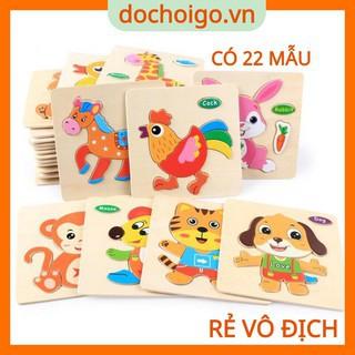 Tranh ghép gỗ 3d nhiều hình ngộ nghĩnh, đồ chơi gỗ phát triển trí tuệ dochoigo.vn