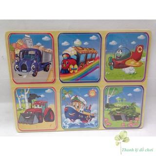Ghép hình gỗ 6 miếng – 1 bảng gồm 6 tranh, mỗi tranh gồm 6 miếng ghép